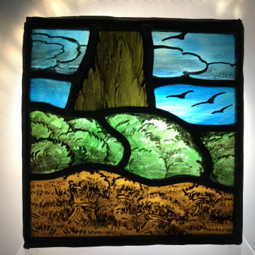 Beautiful Stained Glass Scenic Panel, Corn, Tree and Birds.   Arts and Crafts Movement